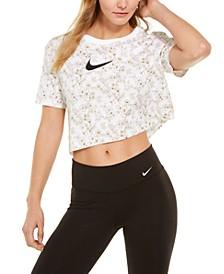Women's Sportswear Shine Cotton Metallic-Print Cropped T-Shirt