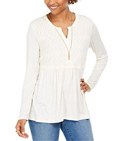 Lace-Front Draped Top, Created for Macy's