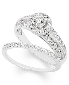 Certified Diamond (1 ct. t.w.) Bridal Set in 14k White Gold
