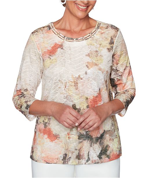 Alfred Dunner Petite First Frost Embellished Lattice-Neck Top