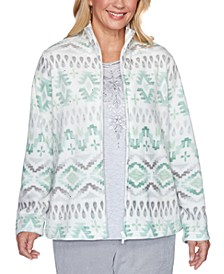 Petite Lake Geneva Printed Biadere Fleece Jacket