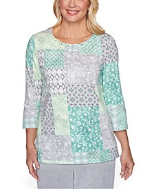 Petite Lake Geneva Patchwork-Print Knit Top