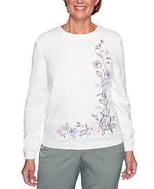 Petite Loire Valley Embroidered Chenille Floral Sweater