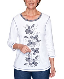 Petite Road Trip Embroidered Embellished Top