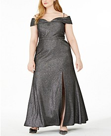 Trendy Plus Size Off-The-Shoulder Shimmer Gown
