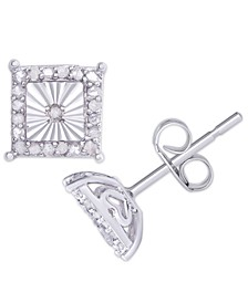 Diamond 1/4 ct. t.w. Square Miracle Plate Stud Earrings in Sterling Silver
