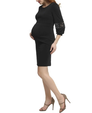 Kimi + Kai Cate Maternity Belted Midi Dress