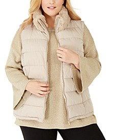 Plus Size Faux-Fur-Collar Puffer Vest