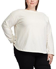 Plus Size Button-Trim Boatneck Shirt