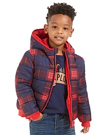 Little Boys Plaid Reversible Water-Resistant Hooded Puffer Jacket, Created For Macy's