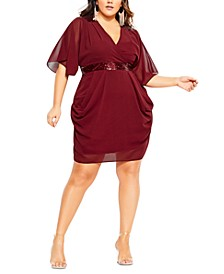 Trendy Plus Size Sequin Wrap Dress