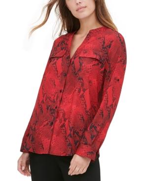 Calvin Klein T-shirts PRINTED COLLARLESS SHIRT