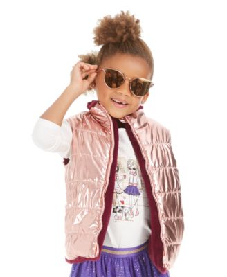 Little Girls Reversible Metallic & Faux-Fur Puffer Vest, Created For Macy's