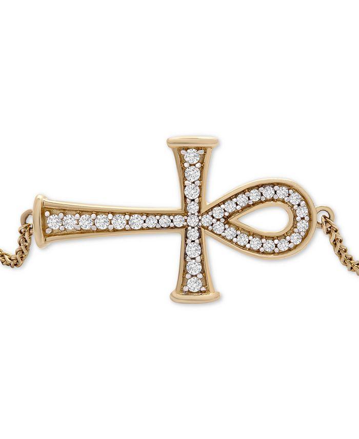 Wrapped - Diamond Ankh Bolo Bracelet (1/4 ct. t.w.) in 14k Gold