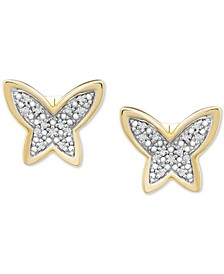 Diamond Butterfly Stud Earrings (1/20 ct. t.w.) in 14k Gold, Created for Macy's