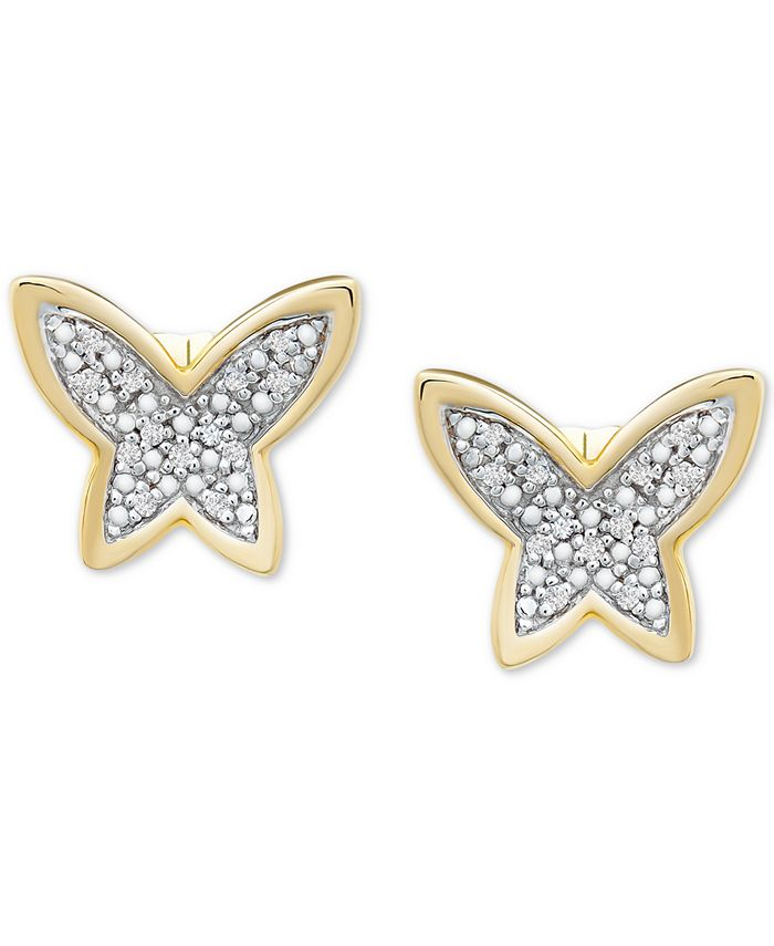 Wrapped - Diamond Butterfly Stud Earrings (1/20 ct. t.w.) in 14k Gold