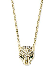 "EFFY® Diamond (1/4 ct. t.w.) & Emerald Accent Panther Pendant Necklace in 14k Gold, 18"" + 2"" Extender"