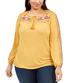 Plus Size Embroidered Peasant Top, Created For Macy's
