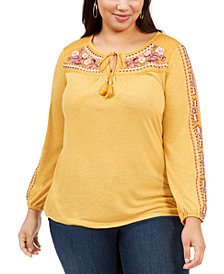 Style & Co Plus Size Embroidered Peasant Top, Created For Macy's