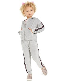 Little Girls Velour Zip-Up Hoodie & Side-Taped Velour Sweatpants, Created For Macy's
