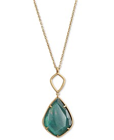 "Gold-Tone Reversible Stone Pendant Necklace, 30-1/2"" + 2"" extender"