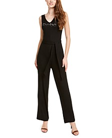 Rhinestone Logo Ribbed-Knit Jumpsuit