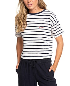 Juniors' Striped Cropped T-Shirt