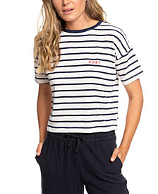 Roxy Juniors' Striped Cropped T-Shirt
