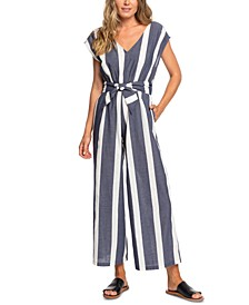 Juniors' Same Old Blues Cotton Striped Jumpsuit