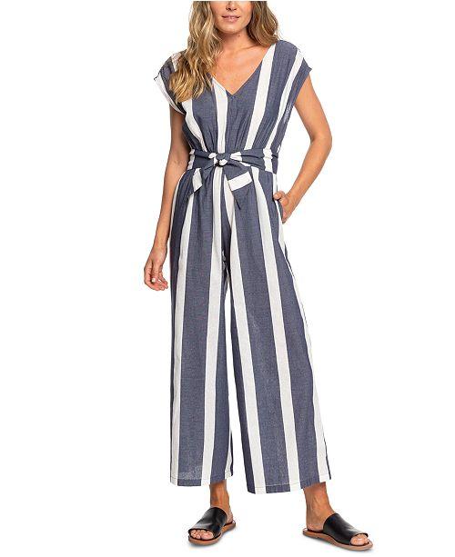 Roxy Juniors' Same Old Blues Cotton Striped Jumpsuit