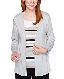 Petite Classics Metallic Layered-Look Sweater