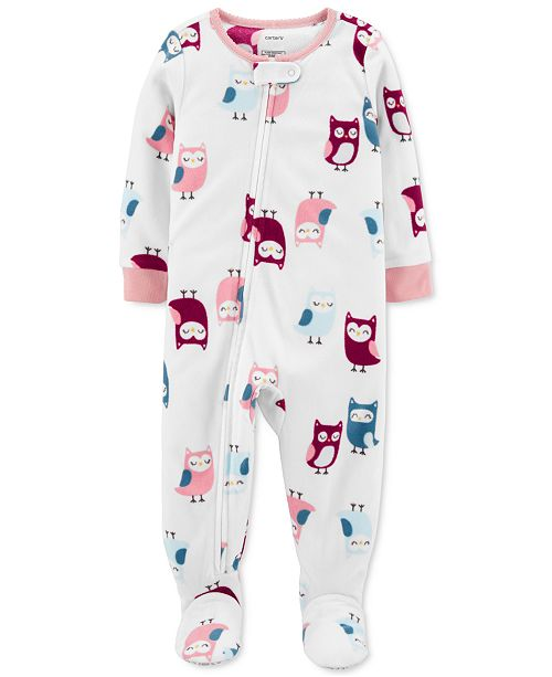 Carter's Baby Girls Owls Fleece  Footed Pajamas