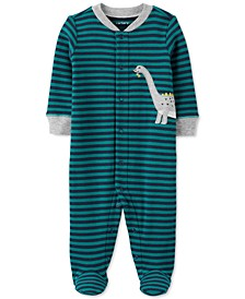 Baby Boys Cotton Striped Dinosaur Footed Coverall