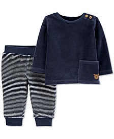 Baby Boys 2-Pc. Velour T-Shirt & Striped Pants Set