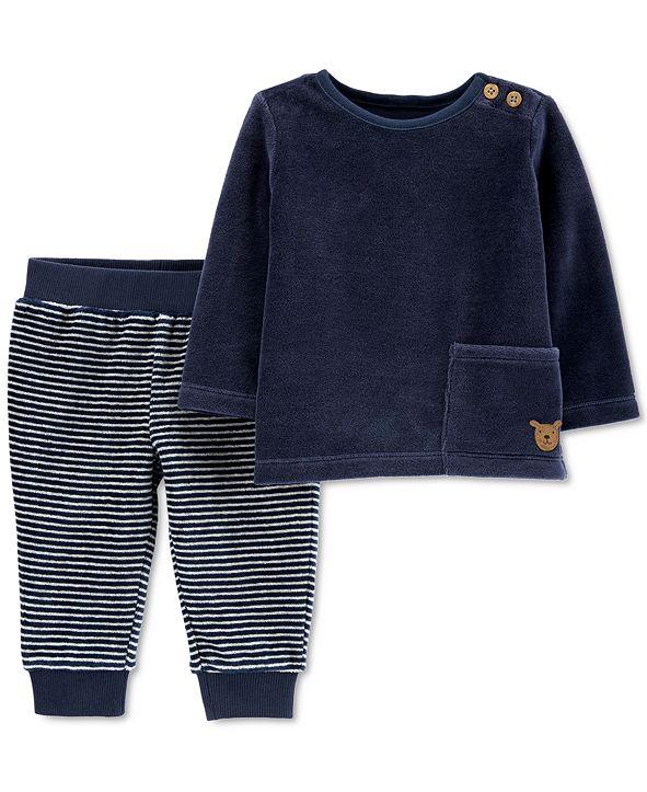 Carter's Baby Boys 2-Pc. Velour T-Shirt & Striped Pants Set