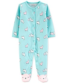 Baby Girls Cotton Llama-Print Footed Coverall