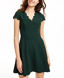 Juniors' Scalloped Fit & Flare Dress