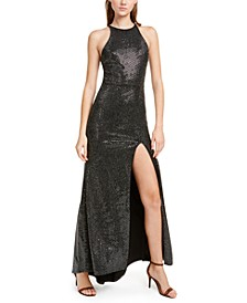 Juniors' Sequined Cutout Halter Gown