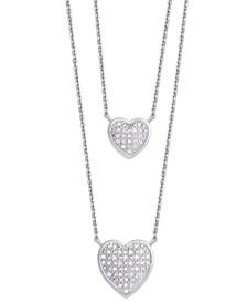 Diamond 1/4 ct. t.w. Heart Double Chain Pendant Necklace in Sterling Silver