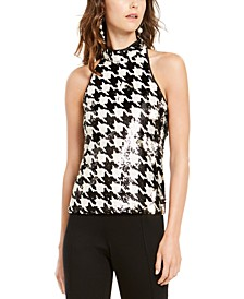 INC Petite Sequined Houndstooth-Print Top, Created For Macy's