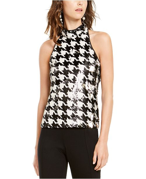 INC International Concepts INC Petite Sequined Houndstooth-Print Top, Created For Macy's