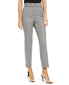 INC Houndstooth-Print Tapered-Leg Pants, Created For Macy's