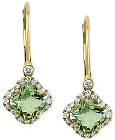 EFFY® Green Amethyst (1-5/8 ct. t.w.) & Diamond (1/4 ct. t.w.) Drop Earrings in 14k Gold
