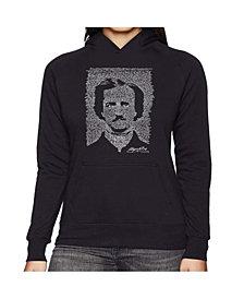 LA Pop Art Women's Word Art Hooded Sweatshirt -Edgar Allen Poe - The Raven
