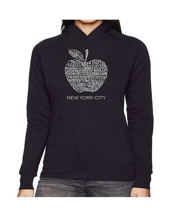 LA Pop Art Women's Word Art Hooded Sweatshirt -Neighborhoods In Nyc