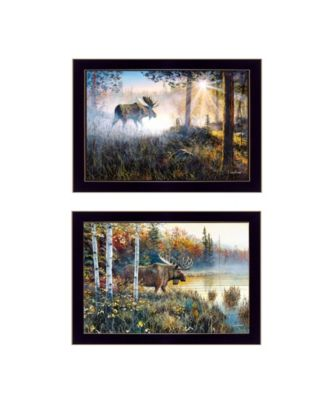 """Moose Collection By Jim Hansen, Printed Wall Art, Ready to hang, Black Frame, 20"""" x 14"""""""