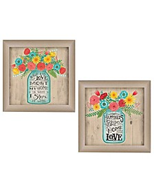 "Mason Jars II Collection By Debbie Strain, Printed Wall Art, Ready to hang, Beige Frame, 30"" x 15"""