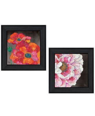 """Blooms on Black 2-Piece Vignette by Lisa Morales, Black Frame, 15"""" x 15"""""""
