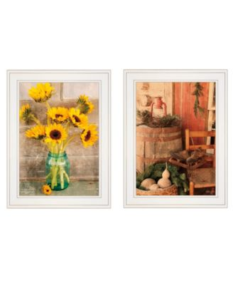 """Vintage-Like Country Sunflowers 2-Piece Vignette by Anthony Smith, White Frame, 19"""" x 15"""""""