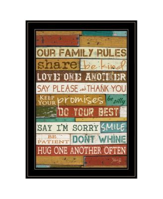 """Our Family Rules by Marla Rae, Ready to hang Framed Print, Black Frame, 15"""" x 21"""""""